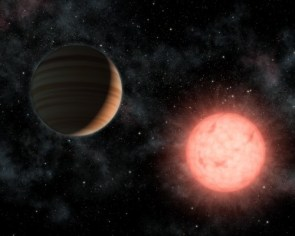 A Large Planet Orbiting a Small Star
