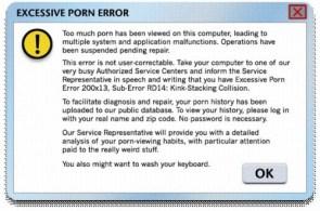 Excessive Porn Error Message