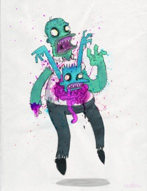 homer and bart simpson zombie