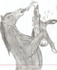 A horse playing a saxophone