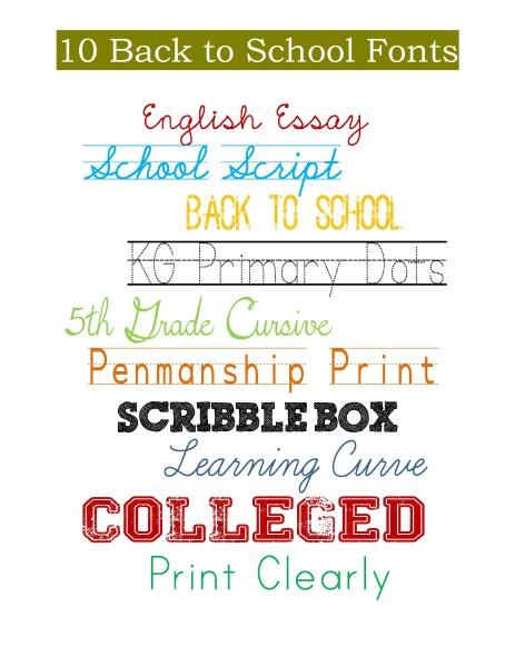 10 Back to School Free Fonts - My Craftily Ever After