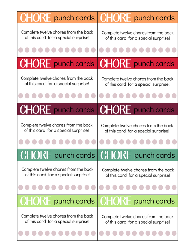 Dynamic image for printable chore cards
