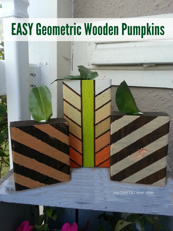 easy geometric wooden pumpkins