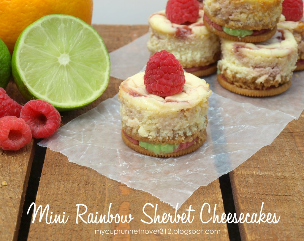 Mini Rainbow Sherbet Cheesecakes - Rainbow Sherbet Oreo Crust are a perfect compliment to your summer festivities!!