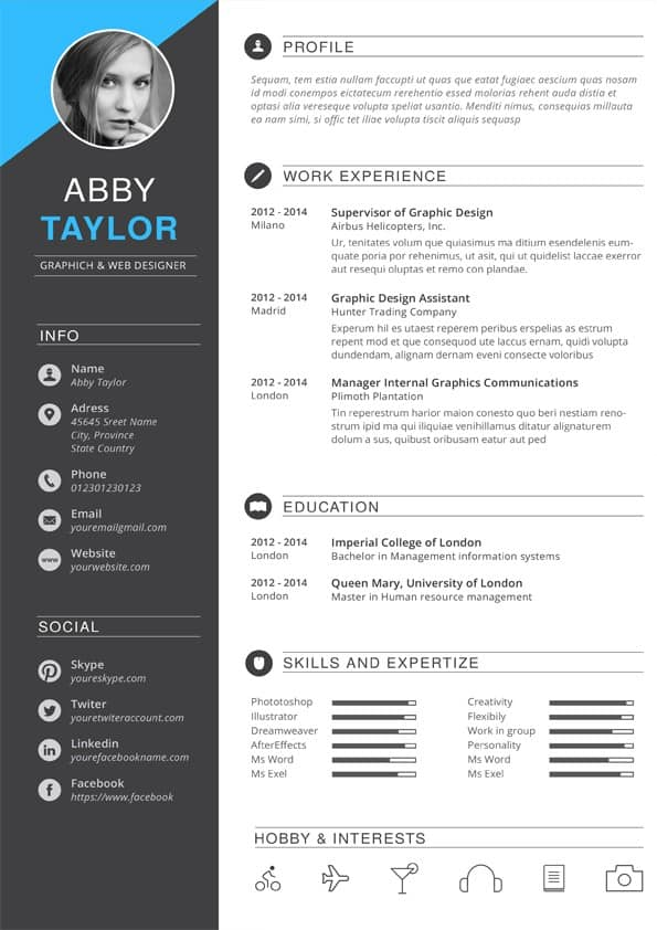 cv template download photoshop