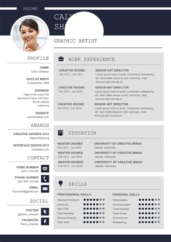 Professional CV MS Word Template - Editable Downloadable CV Word