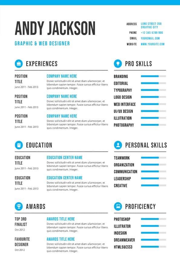 Professional  Clean CV Template - Editable Downloadable CV Word