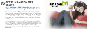 amazon 300x102 FREE $5 MP3 Credit from Amazon
