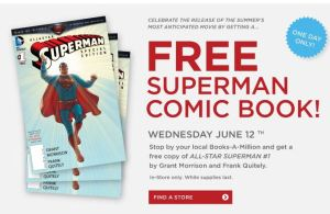 booksamillion 300x195 Books A Million ~ FREE All Star Super Man #1 Comic Book  ~ Tomorrow, June 12th!