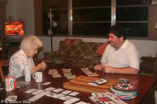 Grandma and I enjoying one of her favorite past times -- playing card games!
