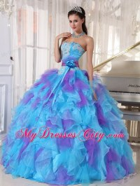 Blue and Purple Strapless Appliqued Quinceanera Dresses ...