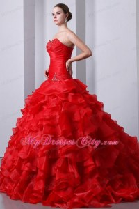 Red Organza Sweetheart Beading and Ruffles Quinceanera ...