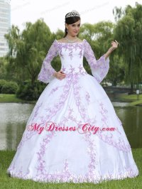 Square Neck Long Sleeves Quinceanera Dress with Lilac ...