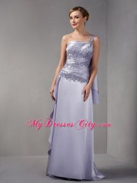One Shoulder Brush Train Taffeta Appliques Mother Of The ...