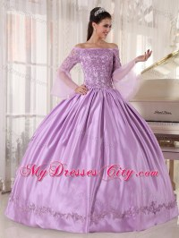 Lavender Off The Shoulder Quinceanera Dress with Long ...