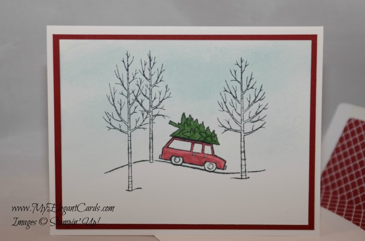 white christmas car and tree