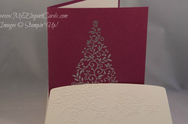 Hero Arts christmas tree stamp with embossed envelope