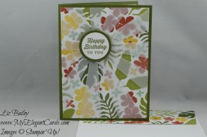 Stampin' Up! Botanical Gardens DSP and Sunburst thinlits die and Sunburst sayings and Botanical Gardens designer vellum stack