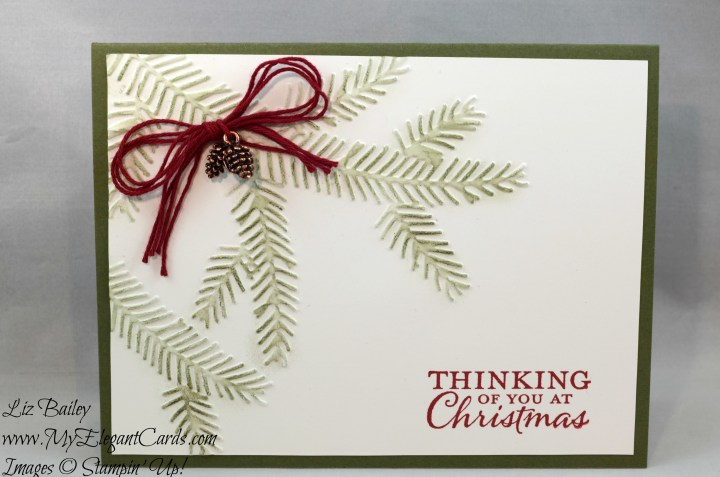 Liz Bailey Stampin' Up! Demonstrator - Pine Bough Textured Impressions Embossing Folder - Embellished Ornaments - Mini Pinecones