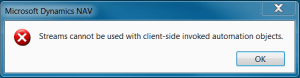 Streams cannot be used with client-side invoked automation objects