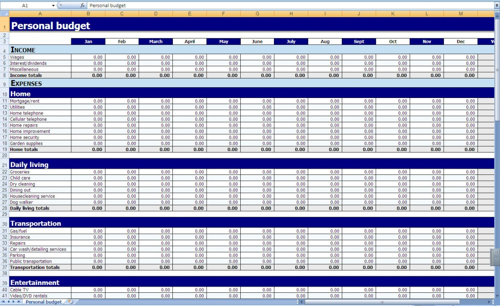 Monthly and Yearly Budget Spreadsheet Excel Template - expense excel template