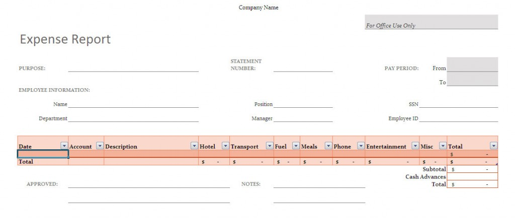 simple expense report template