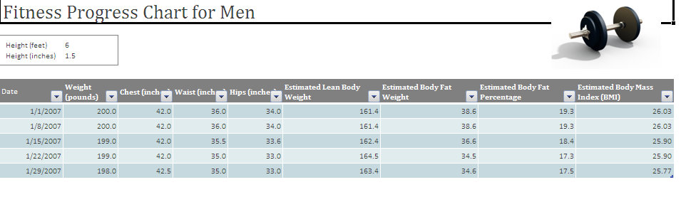 Exercise Chart for Men Men\u0027s Exercise Chart - body fat percentage chart template