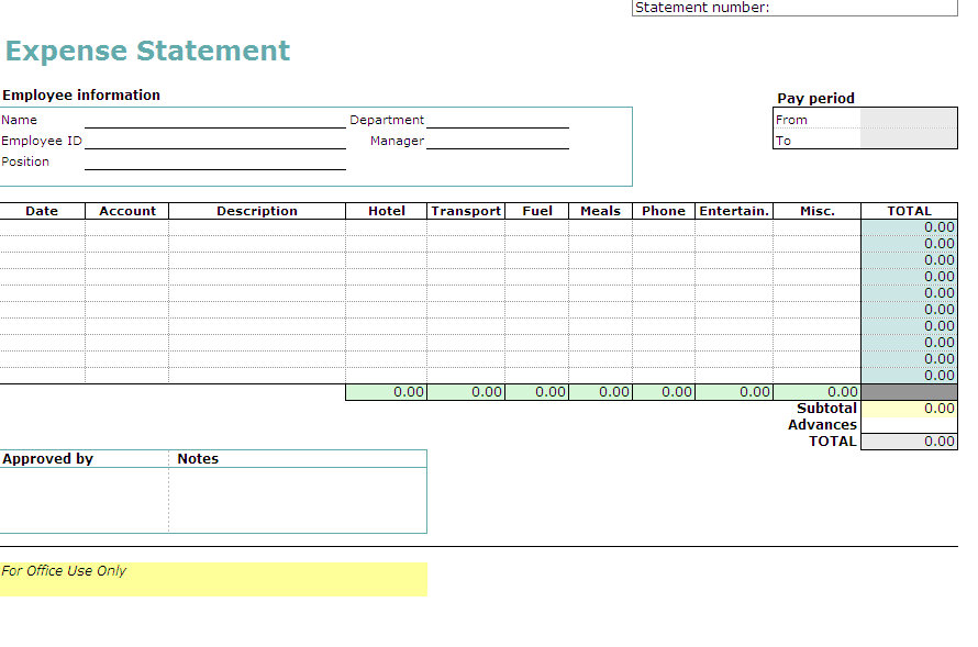 employee expense report template - excel template expense report
