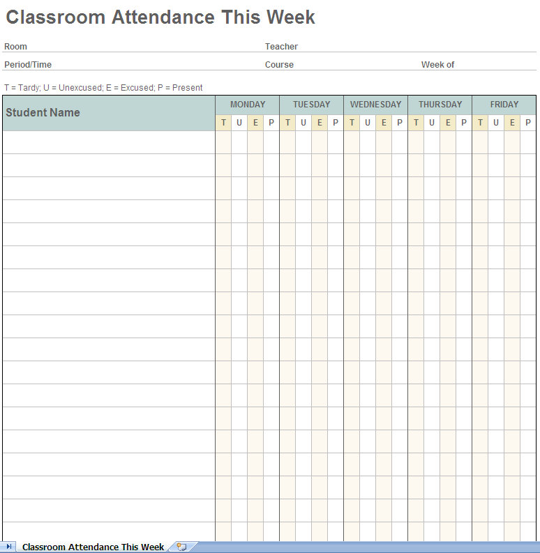 student attendance tracking Archives - My Excel Templates