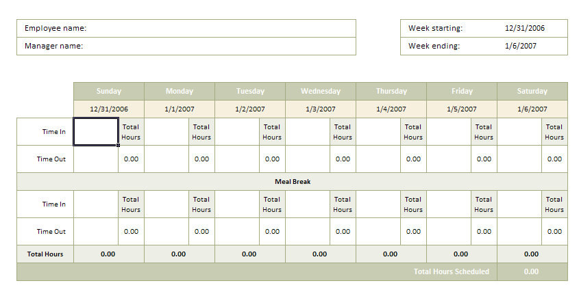 time card calculator bi weekly with lunch - Akbakatadhin - bi weekly timecard with lunch