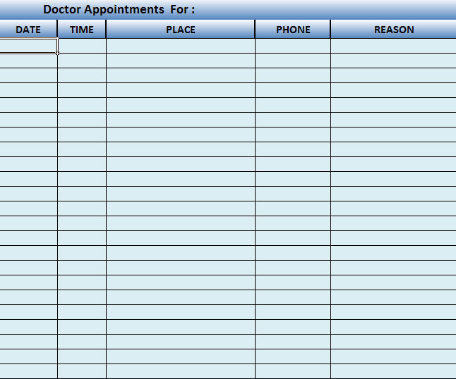 medical office schedule template - appointment scheduling sheets