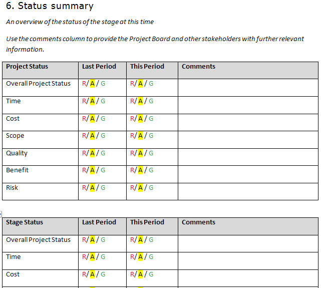 weekly report template excel - project status sheet