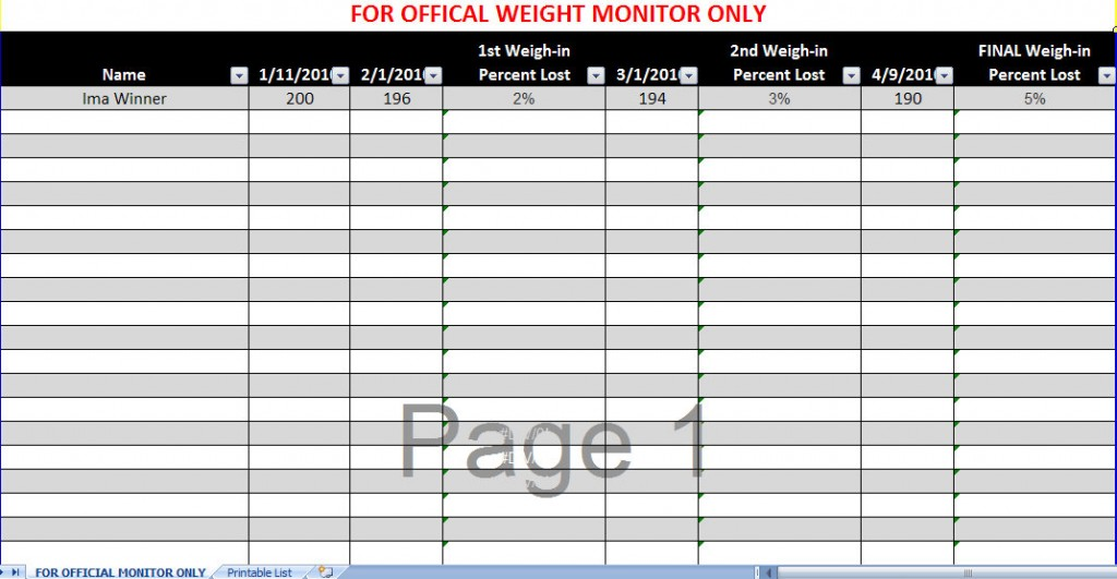 Biggest Loser Spreadsheet Biggest Loser Excel Spreadsheet