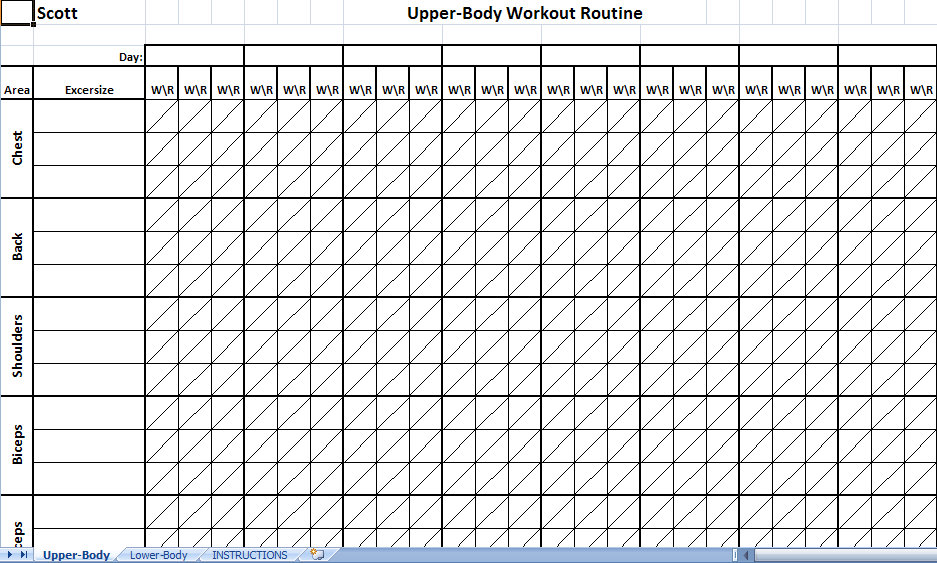 printable workout sheets