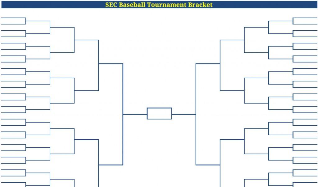 Printable Blank PDF SEC Baseball Tournament Bracket sec baseball