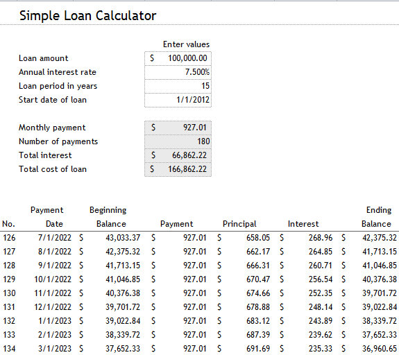 mortgage calculation in excel