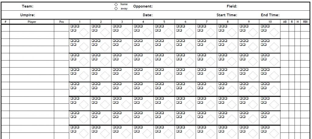Printable PDF Baseball Scorecard PDF Baseball Scorecard