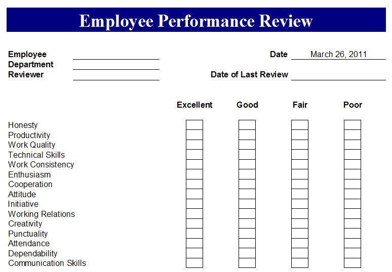 Free Excel Employee Evaluation Form | Professional Resume Cover ...
