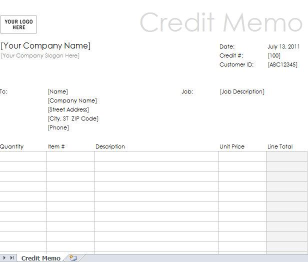 sample credit memo form Archives - My Excel Templates - sample credit memo