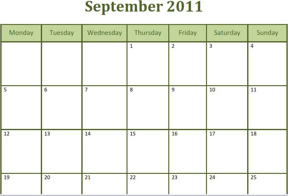 printable blank calendar template - blank month template