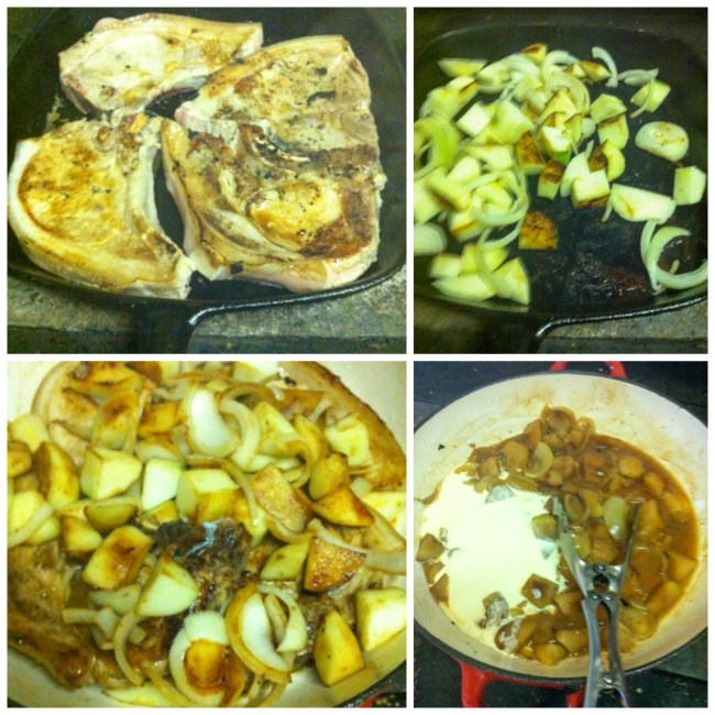 pork chops with apple and onion sauce steps
