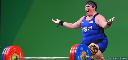 RIO DE JANEIRO, BRAZIL - AUGUST 14:  Sarah Elizabeth Robles of the United States reacts during the Weightlifting - Women's +75kg Group A on Day 9 of the Rio 2016 Olympic Games at Riocentro - Pavilion 2 on August 14, 2016 in Rio de Janeiro, Brazil.  (Photo by Laurence Griffiths/Getty Images)