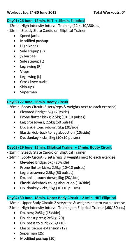 Workout Log) 24-30 June 2013 !