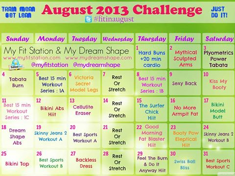 August 2013 Workout Calendar Your Monthly Fitness Challenge !