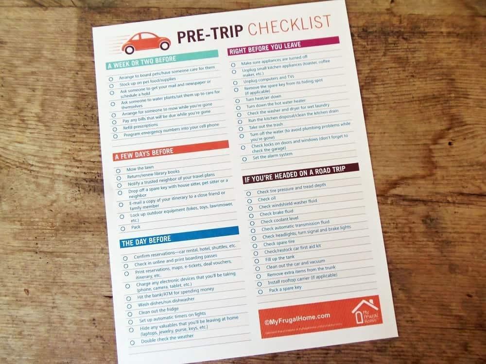 Printable Pre-Trip Checklist - Travel Checklist