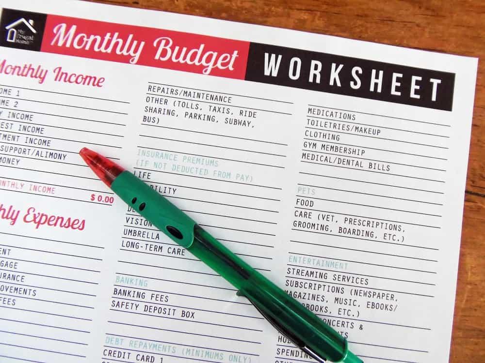 month budget worksheet