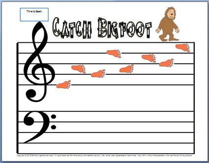 Treble Clef Notes Worksheet Catch Bigfoot My Fun Piano Studio