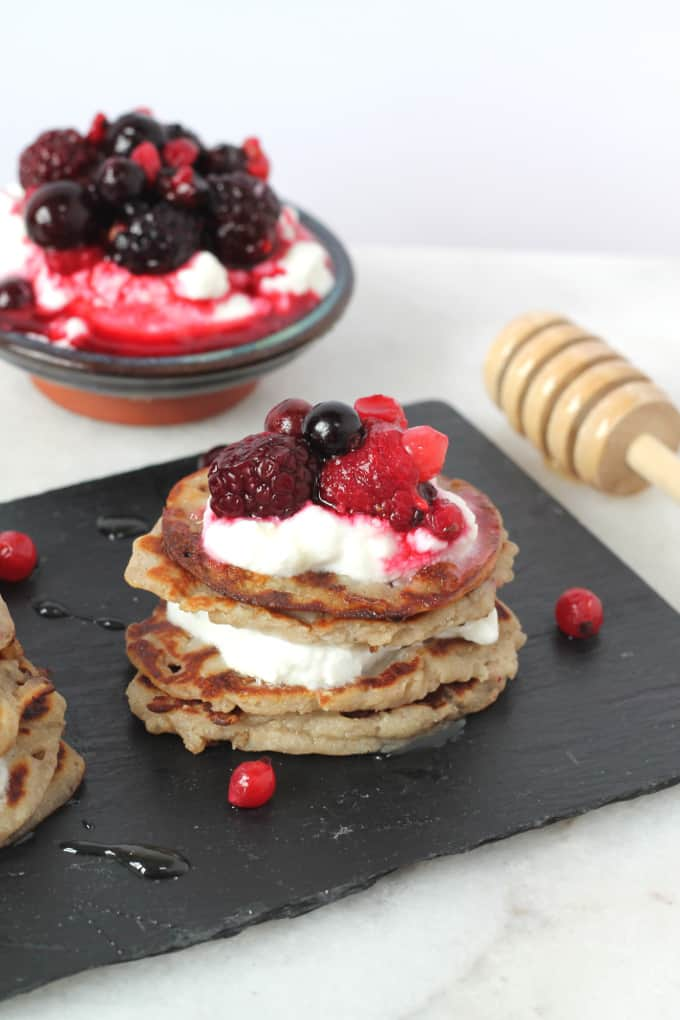 mini coconut banana buckwheat pancakes