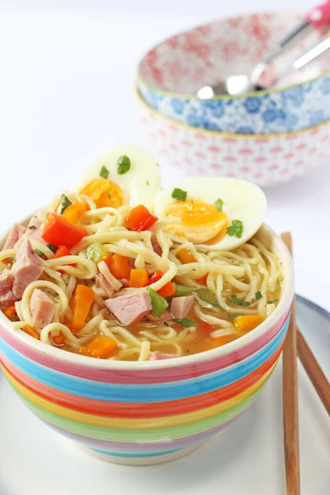 Use up leftover ham from your Sunday Roast to make this delicious and healthy Ham, Egg & Noodle Soup. A quick and easy meal idea for a Monday! | My Fussy Eater blog