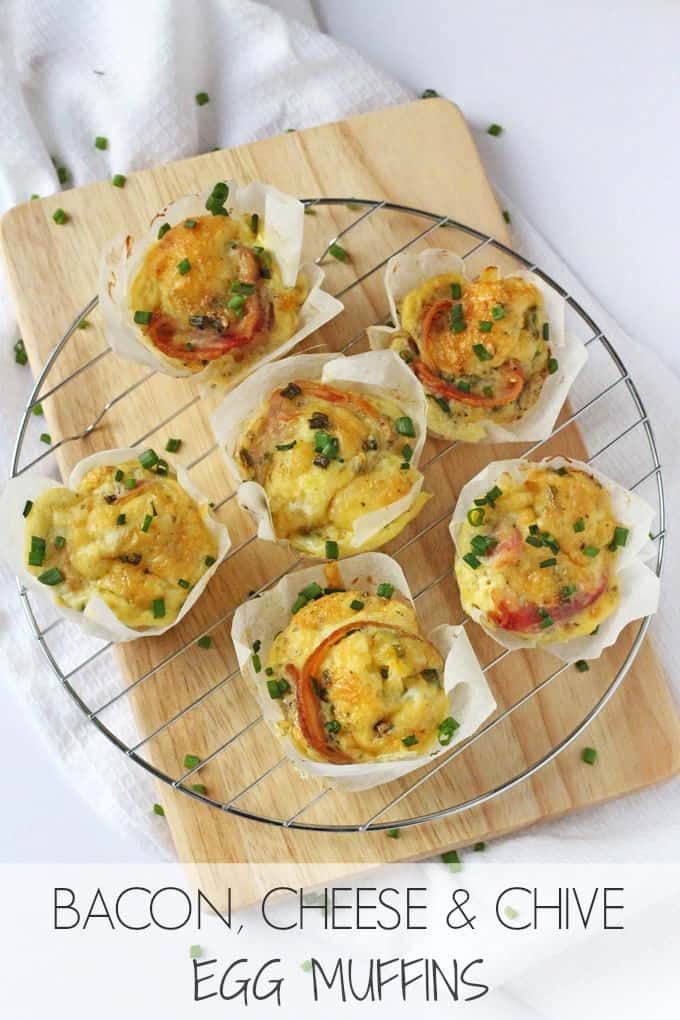 Bacon, Cheese & Chive Egg Muffins - My Fussy Eater